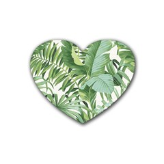 Green Palm Leaf Wallpaper Alfresco Palm Leaf Wallpaper Heart Coaster (4 Pack)  by AnjaniArt