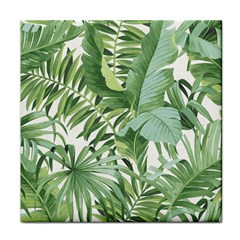 Green Palm Leaf Wallpaper Alfresco Palm Leaf Wallpaper Face Towel by AnjaniArt