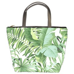 Green Palm Leaf Wallpaper Alfresco Palm Leaf Wallpaper Bucket Bag by AnjaniArt
