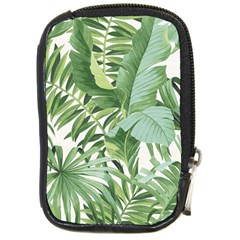 Green Palm Leaf Wallpaper Alfresco Palm Leaf Wallpaper Compact Camera Leather Case by AnjaniArt