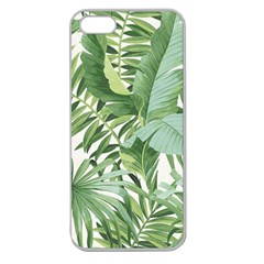 Green Palm Leaf Wallpaper Alfresco Palm Leaf Wallpaper Apple Seamless Iphone 5 Case (clear) by AnjaniArt