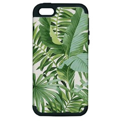 Green Palm Leaf Wallpaper Alfresco Palm Leaf Wallpaper Apple Iphone 5 Hardshell Case (pc+silicone)