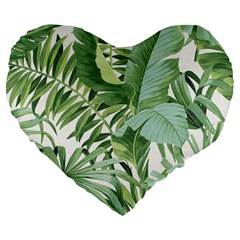 Green Palm Leaf Wallpaper Alfresco Palm Leaf Wallpaper Large 19  Premium Heart Shape Cushions by AnjaniArt