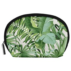 Green Palm Leaf Wallpaper Alfresco Palm Leaf Wallpaper Accessory Pouch (large) by AnjaniArt