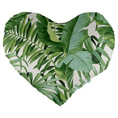 Green Palm Leaf Wallpaper Alfresco Palm Leaf Wallpaper Large 19  Premium Flano Heart Shape Cushions by AnjaniArt