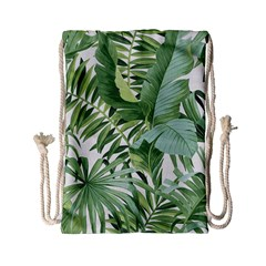 Green Palm Leaf Wallpaper Alfresco Palm Leaf Wallpaper Drawstring Bag (small) by AnjaniArt