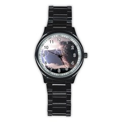 Lighting Flash Fire Wallpapers Stainless Steel Round Watch by AnjaniArt