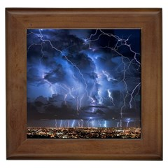 Lighting Flash Fire Wallpapers Night City Town Meteor Framed Tiles by AnjaniArt
