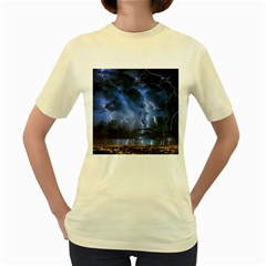 Lighting Flash Fire Wallpapers Night City Town Meteor Women s Yellow T Shirt