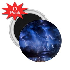 Lighting Flash Fire Wallpapers Night City Town Meteor 2 25  Magnets (10 Pack)