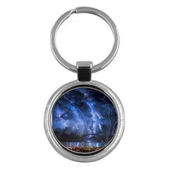 Lighting Flash Fire Wallpapers Night City Town Meteor Key Chains (round)  by AnjaniArt