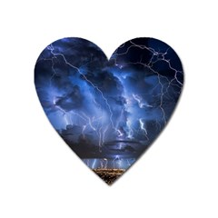 Lighting Flash Fire Wallpapers Night City Town Meteor Heart Magnet by AnjaniArt