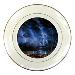 Lighting Flash Fire Wallpapers Night City Town Meteor Porcelain Plates
