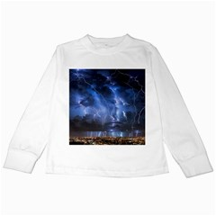 Lighting Flash Fire Wallpapers Night City Town Meteor Kids Long Sleeve T Shirts