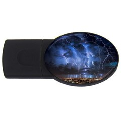 Lighting Flash Fire Wallpapers Night City Town Meteor Usb Flash Drive Oval (4 Gb) by AnjaniArt