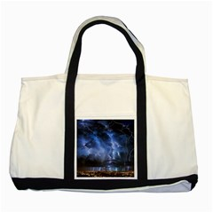 Lighting Flash Fire Wallpapers Night City Town Meteor Two Tone Tote Bag