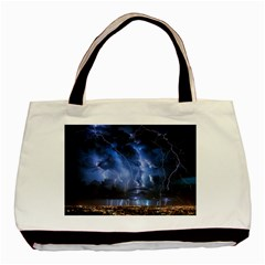 Lighting Flash Fire Wallpapers Night City Town Meteor Basic Tote Bag (two Sides)