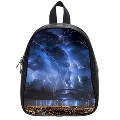 Lighting Flash Fire Wallpapers Night City Town Meteor School Bag (small) by AnjaniArt