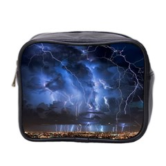 Lighting Flash Fire Wallpapers Night City Town Meteor Mini Toiletries Bag (two Sides)