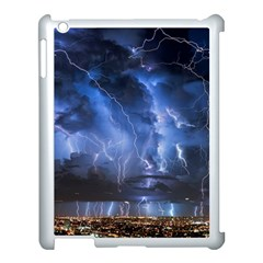 Lighting Flash Fire Wallpapers Night City Town Meteor Apple Ipad 3/4 Case (white)