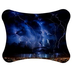Lighting Flash Fire Wallpapers Night City Town Meteor Jigsaw Puzzle Photo Stand (bow)