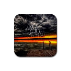 Lighting Strom Summer Star Sunset Sunrise Rubber Square Coaster (4 Pack)  by AnjaniArt