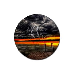 Lighting Strom Summer Star Sunset Sunrise Rubber Coaster (round)  by AnjaniArt