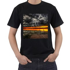 Lighting Strom Summer Star Sunset Sunrise Men s T Shirt (black) (two Sided) by AnjaniArt
