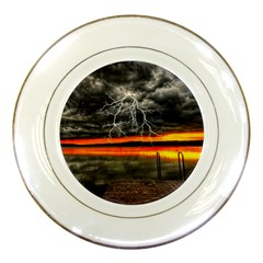 Lighting Strom Summer Star Sunset Sunrise Porcelain Plates by AnjaniArt