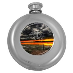 Lighting Strom Summer Star Sunset Sunrise Round Hip Flask (5 Oz) by AnjaniArt