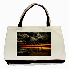 Lighting Strom Summer Star Sunset Sunrise Basic Tote Bag (two Sides) by AnjaniArt