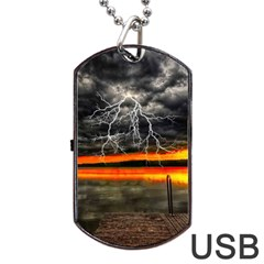 Lighting Strom Summer Star Sunset Sunrise Dog Tag Usb Flash (one Side) by AnjaniArt