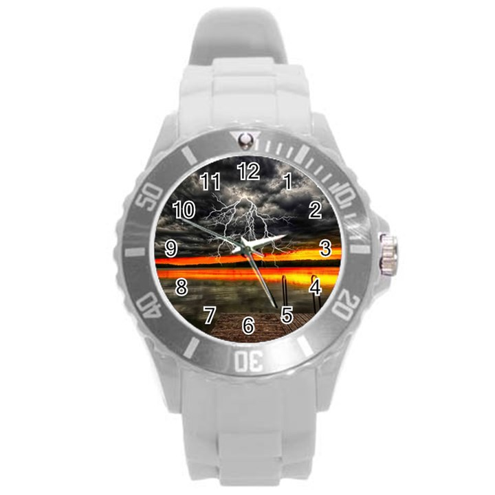 Lighting Strom Summer Star Sunset Sunrise Round Plastic Sport Watch (L)