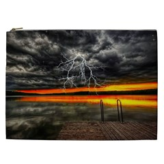 Lighting Strom Summer Star Sunset Sunrise Cosmetic Bag (xxl) by AnjaniArt
