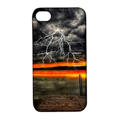 Lighting Strom Summer Star Sunset Sunrise Apple Iphone 4/4s Hardshell Case With Stand by AnjaniArt