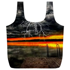 Lighting Strom Summer Star Sunset Sunrise Full Print Recycle Bag (xl) by AnjaniArt