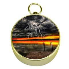Lighting Strom Summer Star Sunset Sunrise Gold Compasses by AnjaniArt