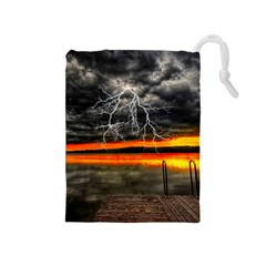 Lighting Strom Summer Star Sunset Sunrise Drawstring Pouch (medium) by AnjaniArt