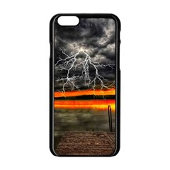 Lighting Strom Summer Star Sunset Sunrise Apple Iphone 6/6s Black Enamel Case by AnjaniArt