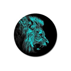 King Lion Wallpaper Jungle Magnet 3  (round) by AnjaniArt