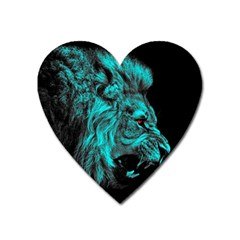 King Lion Wallpaper Jungle Heart Magnet by AnjaniArt