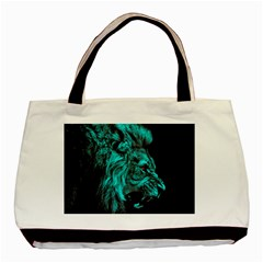 King Lion Wallpaper Jungle Basic Tote Bag by AnjaniArt