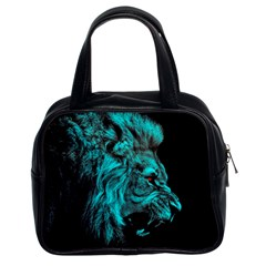 King Lion Wallpaper Jungle Classic Handbag (two Sides) by AnjaniArt