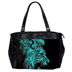 King Lion Wallpaper Jungle Oversize Office Handbag (2 Sides) by AnjaniArt