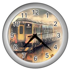 Manipulation Ghost Train Painting Wall Clock (silver) by AnjaniArt