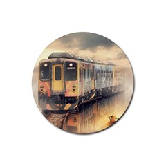 Manipulation Ghost Train Painting Rubber Round Coaster (4 Pack)  by AnjaniArt
