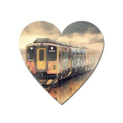 Manipulation Ghost Train Painting Heart Magnet