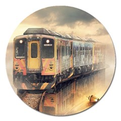 Manipulation Ghost Train Painting Magnet 5  (round) by AnjaniArt