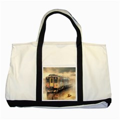 Manipulation Ghost Train Painting Two Tone Tote Bag by AnjaniArt