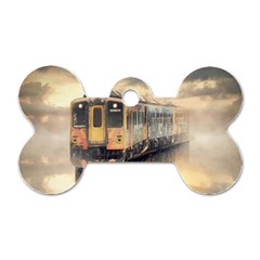 Manipulation Ghost Train Painting Dog Tag Bone (one Side) by AnjaniArt